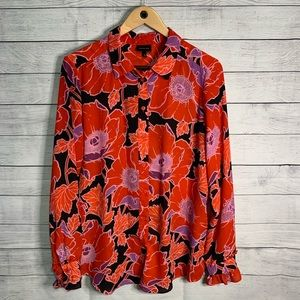 Who What Wear red floral blouse size L